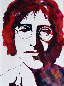 Watercolour painting of John Lennon