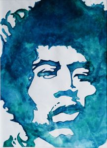 Watercolour painting of Jimi Hendrix