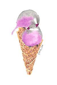 Asexual Pride Ice Cream Birdie Cone