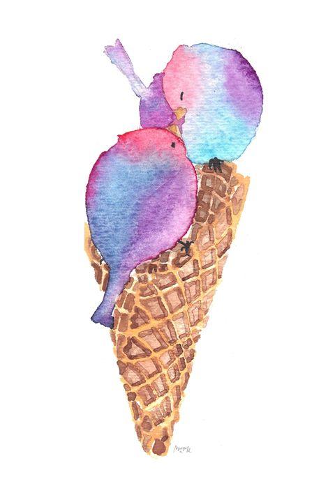 Bisexual Pride Ice Cream Birdies - Mimi L. Albon Art