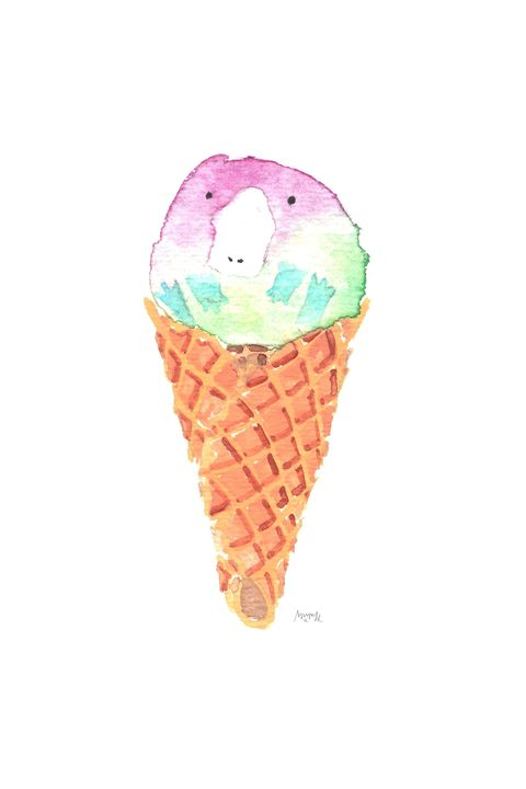 Genderqueer Pride Ice Cream Platypus - Mimi L. Albon Art
