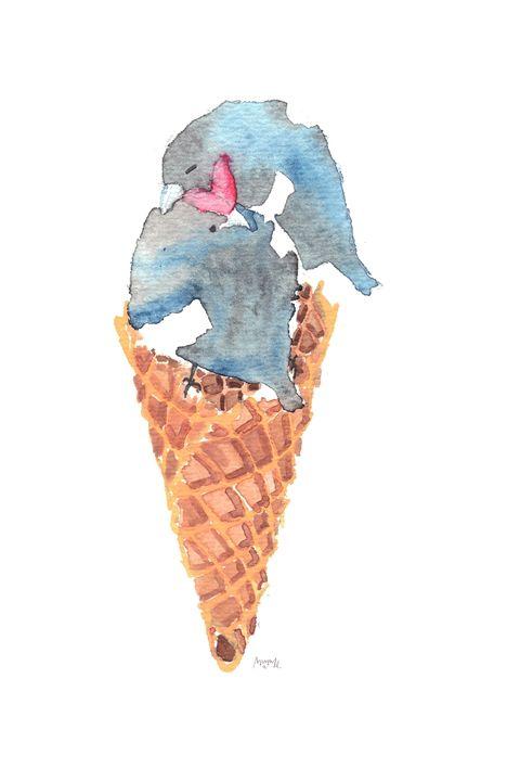 Leather Pride Ice Cream Birdie Cone - Mimi L. Albon Art