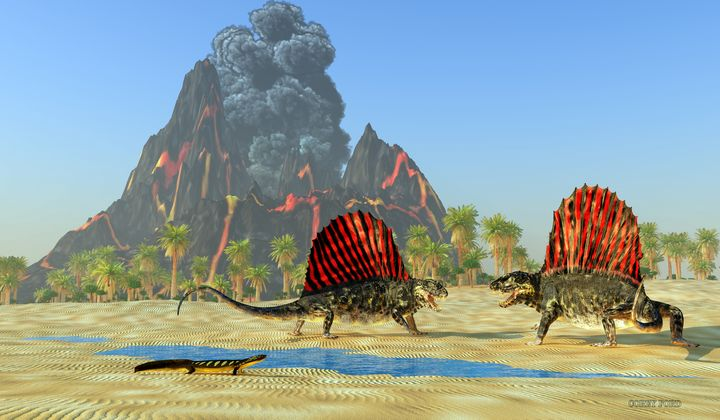 Dimetrodon Dinosaur Fight - Corey Ford Gallery LLC