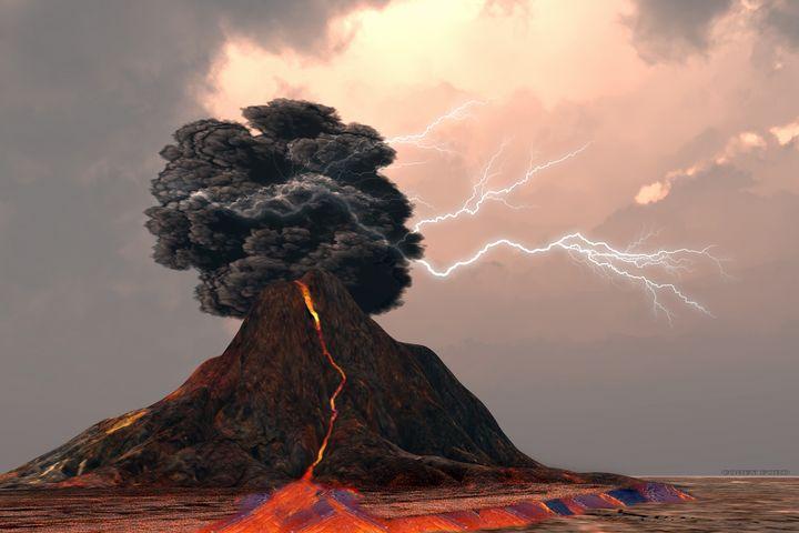 Volcano and Lightning - Corey Ford Gallery LLC