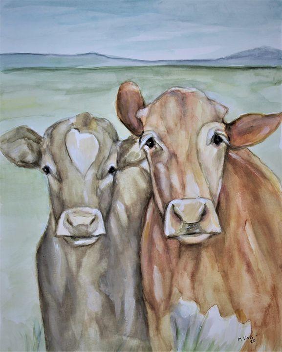 Calf and Cow - NanaGaleVan Fine Art