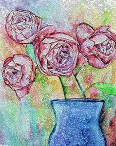 Blue Vase of Roses