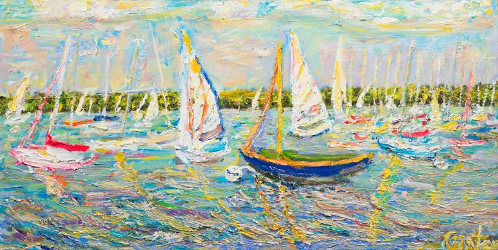 Lake Harriett with sailboats - Art by Patrick