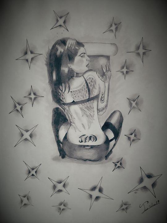 Tattoo model girl - jean silva art.