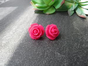 Bright Pink Rose Studs