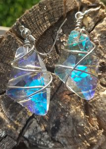 Clear Stone Wire Wrapped Earrings