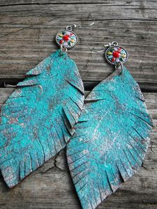 Genuine Leather HandPainted Earrings