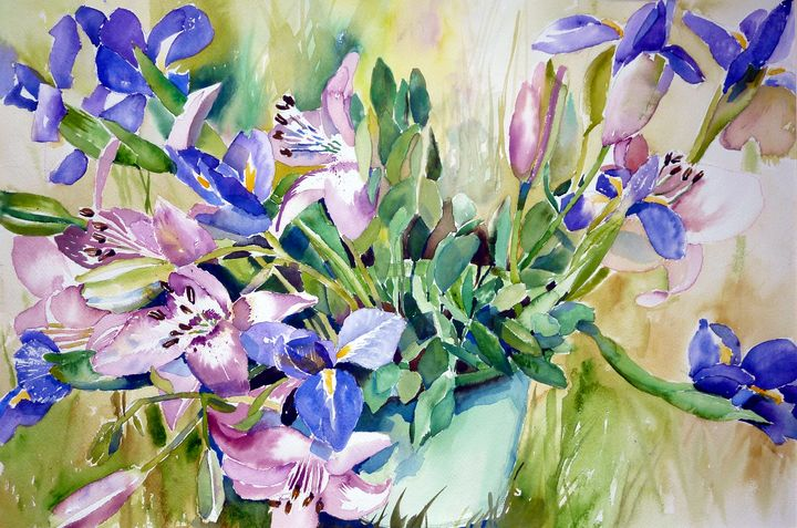 Purple Iris And Pink Lilies - US Country Wildflowers, Art by Roxanne Shields