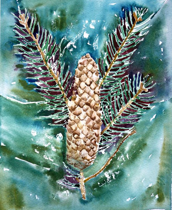 Pinecone - US Country Wildflowers, Art by Roxanne Shields