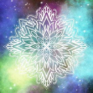 Cosmic Flowy White Mandala