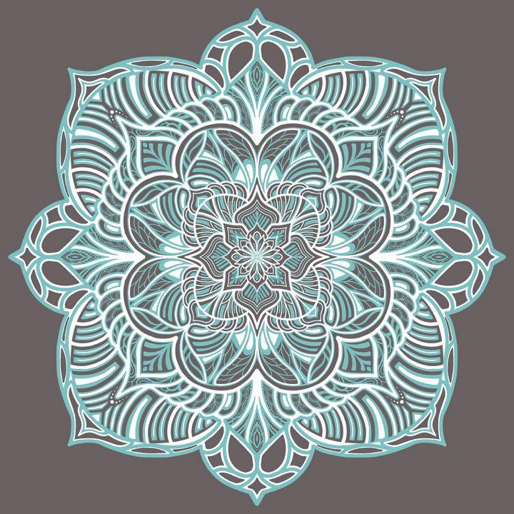 Grey and Teal Mandala - Ariah Christine
