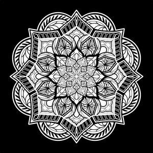 Black and white ornamental mandala