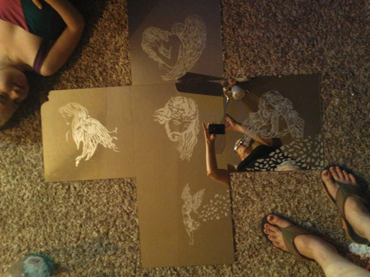 Wall Mirror Cross - Nievar Custom Airbrushing & Engraving