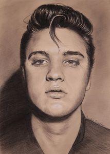Elvis on toned paper