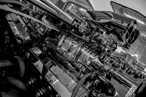 Black And White Engine Bay