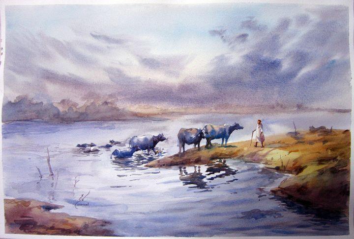 watercolor landscape by M Kazmi - M Kazmi