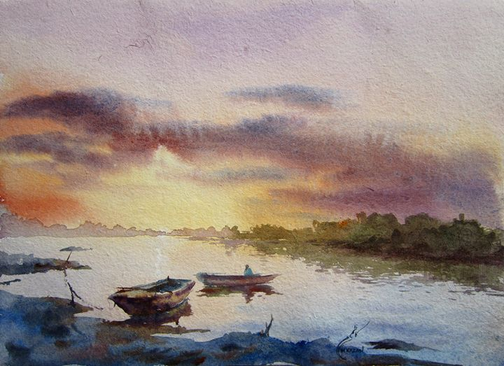 SUNSET RAVI RIVER LAHORE - M Kazmi
