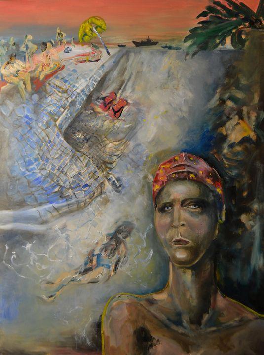 SUMMER SWIMMER oil painting 60*80 - Maria Oskina