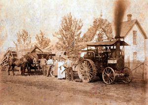 Threshing Crew with Steam Engine
