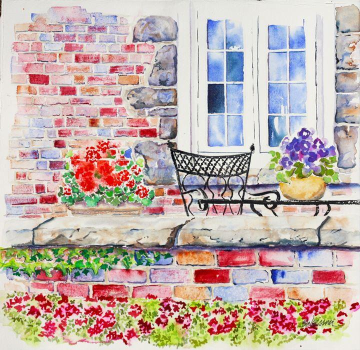 porch of Alpha Delta Pi sorority - art.by.beth
