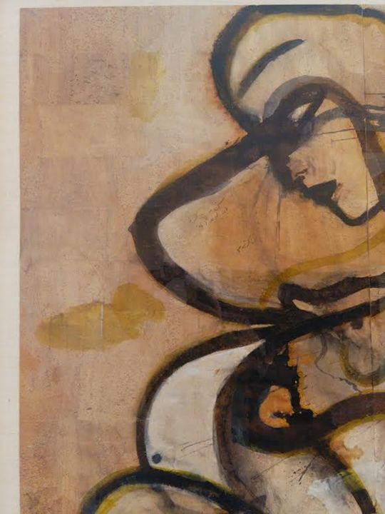"""Philosopher"" original pigment  cork - Jamali Art Resale"