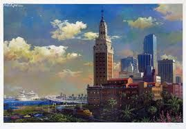 Freedom Tower and Port of Miami - Discounted Artwork