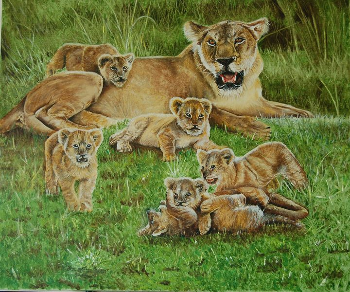 Lioness and cubs - Michele's Art