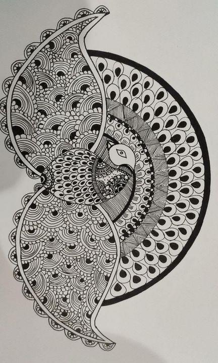 Madhubani Motif Art: Peacock,Romance - Madhubani Folk Art.