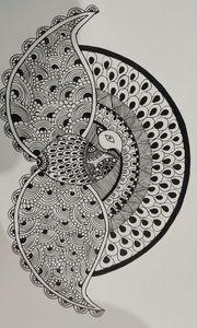 Madhubani Motif Art: Peacock,Romance