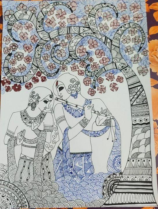 Radha, Krishna & The Flute - Madhubani Folk Art.