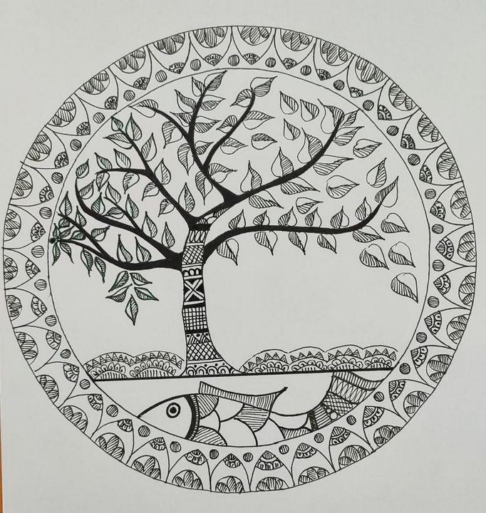 Fish, luck, posperity,harmony, peace - Madhubani Folk Art.