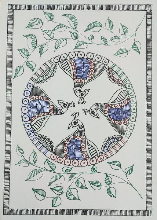Madhubani Peacock circle, life - Madhubani Folk Art.