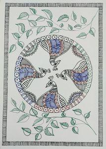 Madhubani Peacock circle, life