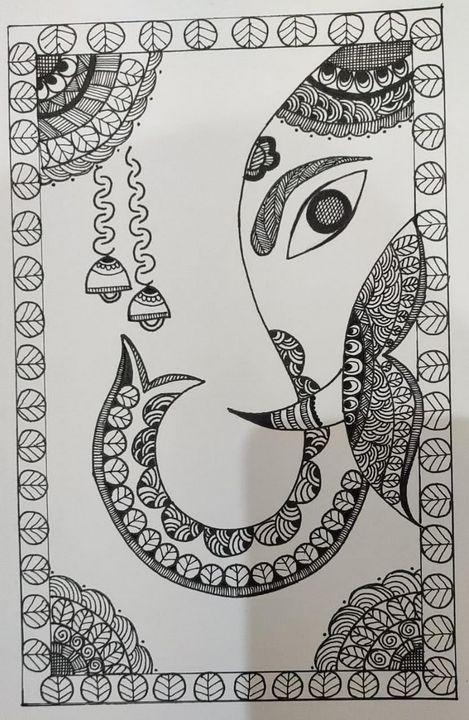 Ganpati, Lord Ganesha - Madhubani Folk Art.