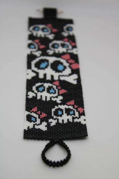 Female Sugar Skull with Bow Bracelet - Designs By SEA