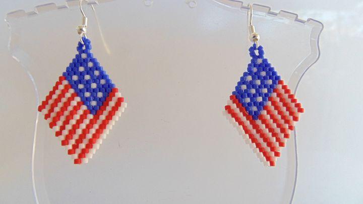 4th of July Flag Earrings - Designs By SEA