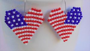 4th of July Heart Earrings