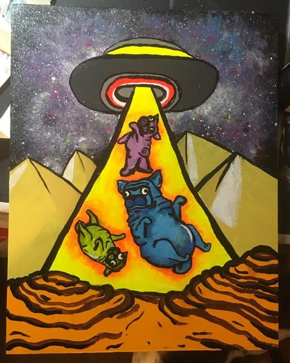 Pug Abduction - Emily Fab Art