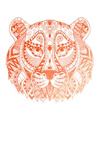 Orange tiger mandala design
