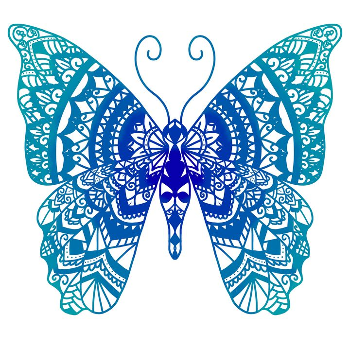 Blue mandala butterfly - Lottie may's art