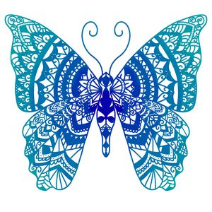 Blue mandala butterfly