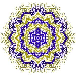 Blue and gold mandala design