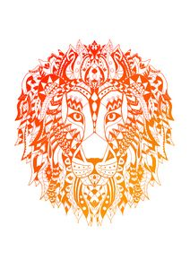 Orange mandala lion