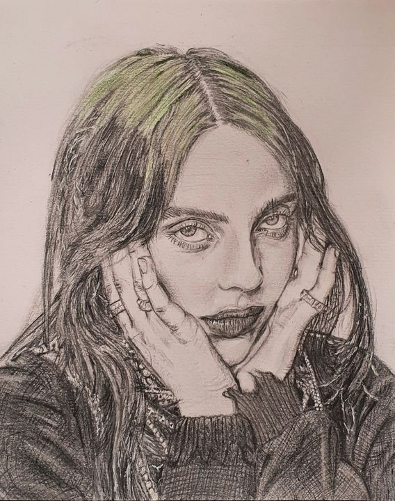 Pencil drawing of Billie Eilish - Lottie may's art
