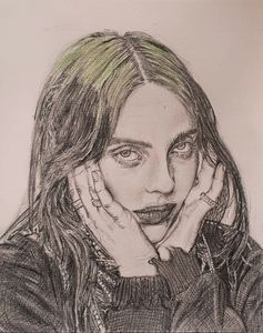 Pencil drawing of Billie Eilish
