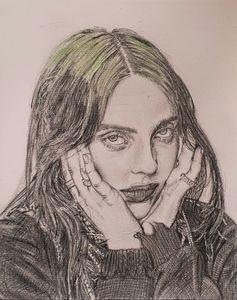 Pencil drawing of Billie Eilish - Lottie may's art